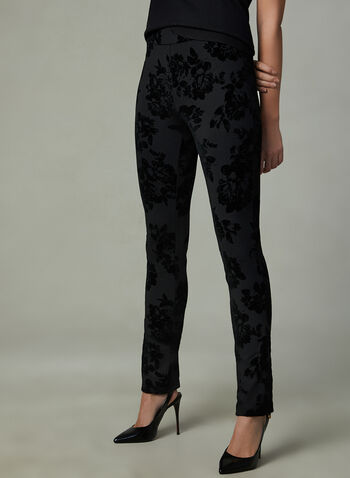 Floral Print Velour Pants, Black, hi-res
