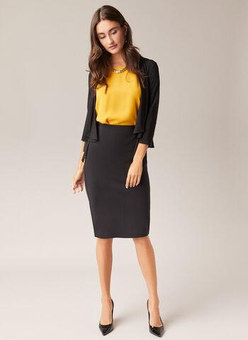 Pull-On Pencil Skirt, Black,  skirt, pencil, ponte di roma, slit, pull-on, fall winter 2020