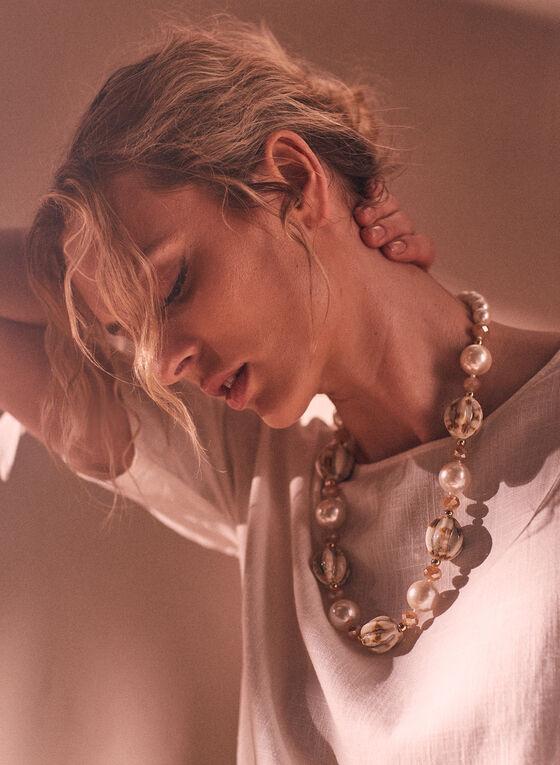 Collier à perles et billes, Blanc cassé