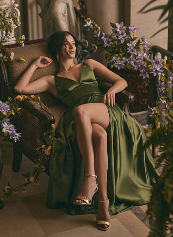 BA Nites - V-Neck Satin Dress, Green,  prom dress, gown, v-neck, spaghetti straps, satin, lace-up, pockets, train, spring summer 2021