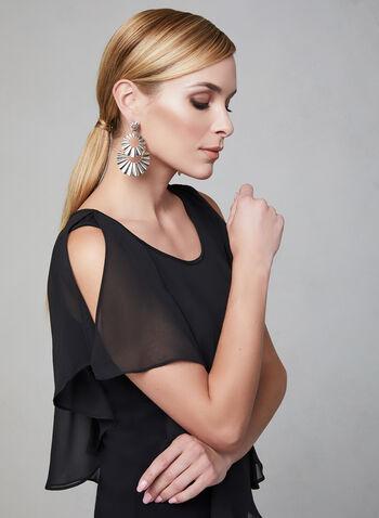 Blouse à mousseline superposée, Noir, hi-res,  blouse, mousseline, crêpe, épaules ajourées, jersey, printemps 2019