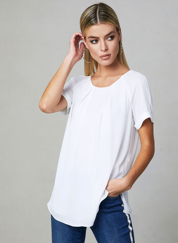 Pleated Chiffon Blouse, Off White, hi-res,
