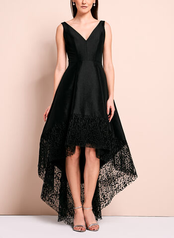 Lace Trim Evening Dress, Black, hi-res
