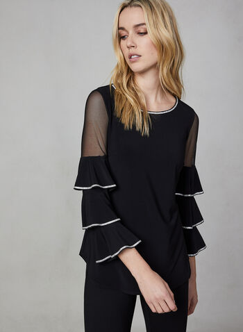 Frank Lyman - Multi Tiered Sleeve Top, Black,  canada, top, blouse, net, rhinestones, 3/4 sleeves, 3/4 sleeve top, jersey top, jersey, holiday, fall 2019, winter 2019
