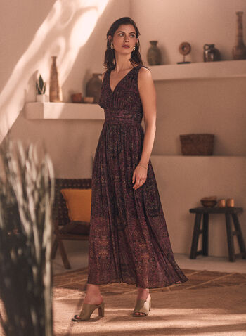 Paisley Print Maxi Dress, Multi,  fall winter 2020, dress, maxi, sleeveless, chiffon, pattern, cashmere, V-neck, fitted, empire waist