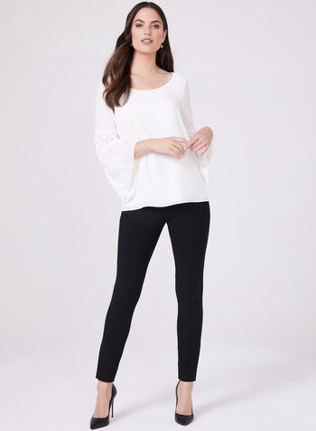 High Rise Slim Leg Pants, Black, hi-res