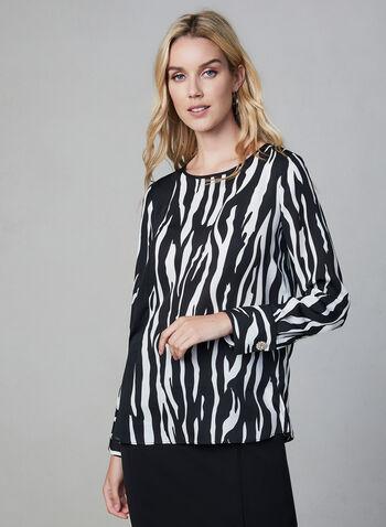Blouse zébrée à manches longues, Blanc, hi-res,  blouse, manches longues, bouton cristal, zèbre, effet de transparence, automne hiver 2019