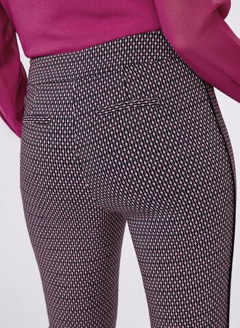 Pantalon en bengaline à jambe étroite et motifs, Noir, hi-res