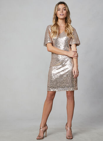 Donna Rico - Flutter Sleeve Sequin Dress, Pink,  cocktail dress, short dress, sequins, short sleeve dress, glitter dress, holiday, fall 2019, winter 2019