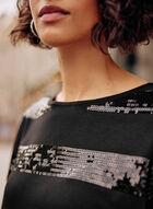 Striped Sequin Detail Top, Black