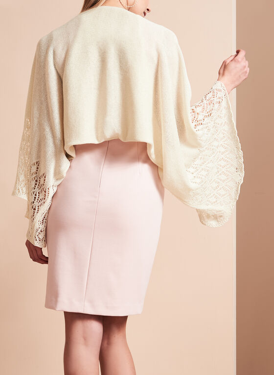 Glitter Knit Crochet Bolero, Off White, hi-res