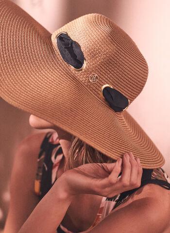 Chapeau à larges bords avec ruban, Beige,  accessoire, chapeau, larges bords, papier, tressé, ruban, oeillets, écusson, printemps été 2021, plage