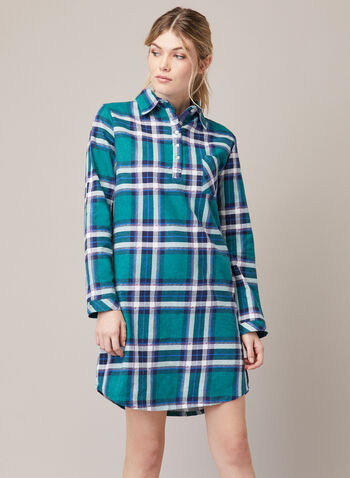 Tartan Print Nightshirt, Green,  fall winter 2020, nightshirt, tartan, long sleeve, pyjama