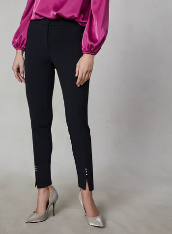 Rhinestone Slim Leg Pant, Black, hi-res,  crepe pant, pant, trousers, zipper, rhinestone, slim leg, winter 2019, fall 2019