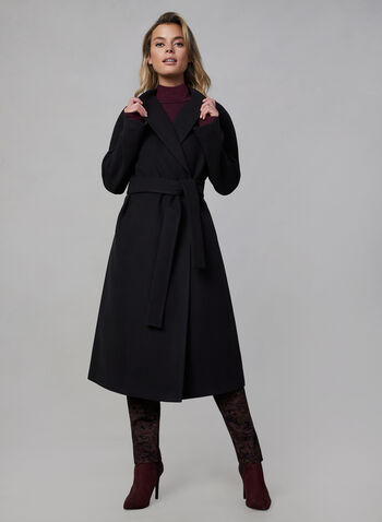 Belted Wool-Like Coat, Black, hi-res,  fall winter 2019, faux wool, belt, wrap coat
