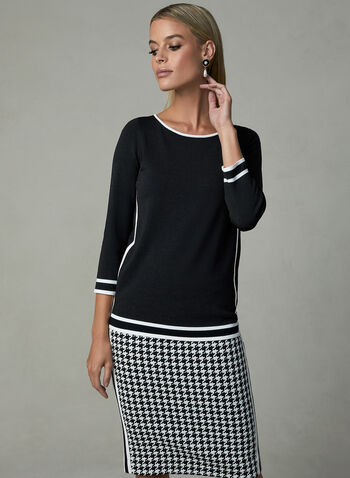 Contrast Trim Knit Sweater, Black, hi-res