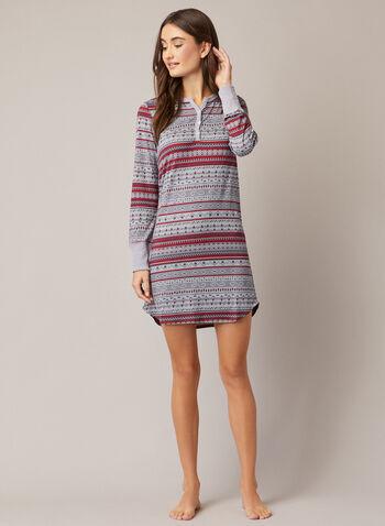 Winter Print Nightshirt, Red,  fall winter 2020, pyjama, nightshirt, sleepwear