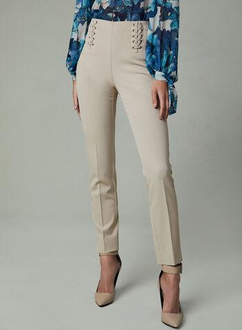 Pantalon à jambe étroite et détails lacets, Blanc cassé, hi-res