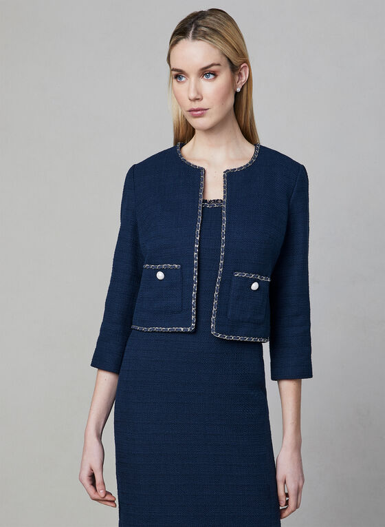 Karl Lagerfeld Paris - Blazer inspiration Chanel, Bleu, hi-res