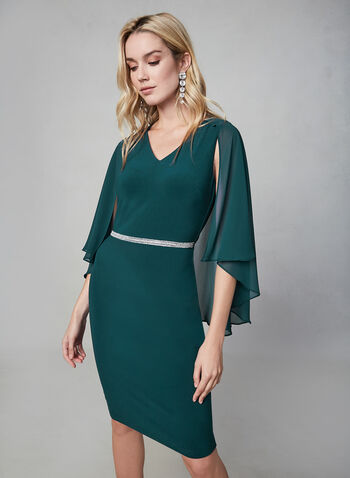 Frank Lyman - Cape Sleeve Dress, Green,  sheath, fall winter 2019, poncho, chiffon overlay, cape sleeves,