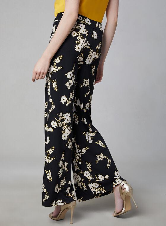 Pantalon jambe large à imprimé floral contrastant, Noir, hi-res