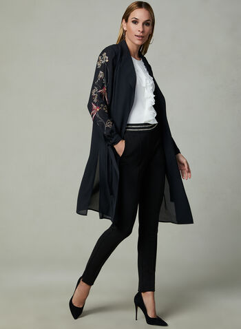 Embroidered Open Front Duster, Black, hi-res