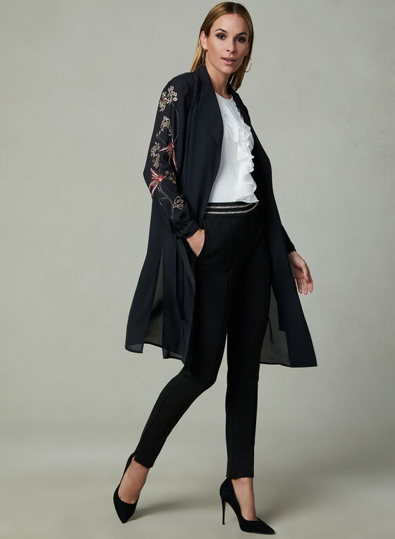 Embroidered Open Front Duster