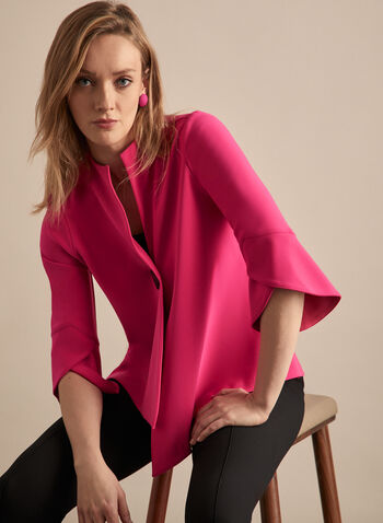 Joseph Ribkoff - Tulip Sleeve Jacket, Red,  jacket, tulip sleeves, 3/4 sleeves, single button, asymmetric, jersey, spring summer 2020