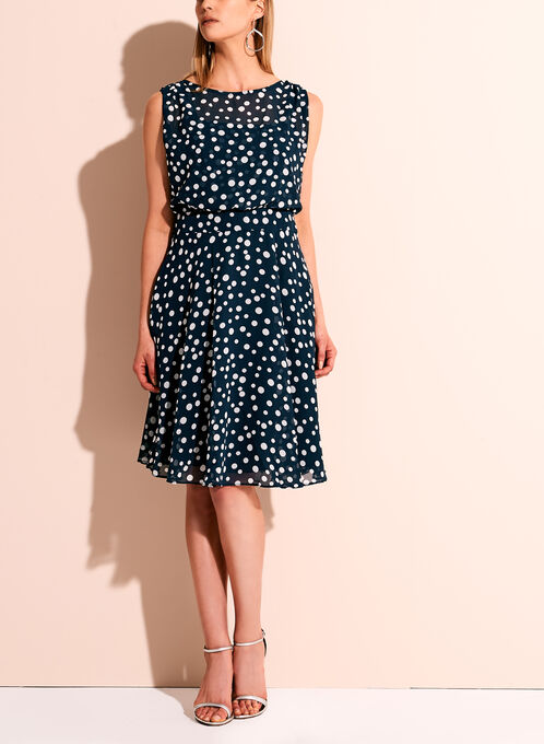 Adrianna Papell - Dot Print A-line Chiffon Dress, Blue, hi-res