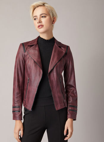 Vex - Faux Leather Jacket, Red,  jacket, faux leather, long sleeves, notched collar, zipper detail, fall winter 2020