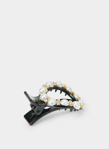 Pearl & Crystal Embellished Barrette, Black,  hair clip, hair barrette, crystals, pearls, fall 2019, winter 2019