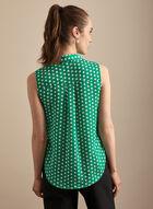 Sleeveless Polka Dot Print Blouse, Green