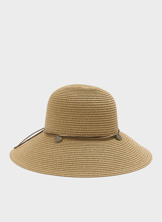 Leather Trim Faux Straw Hat, Brown, hi-res