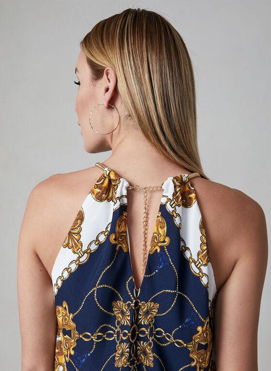 Adrianna Papell - Robe collier à motif foulard, Bleu, hi-res
