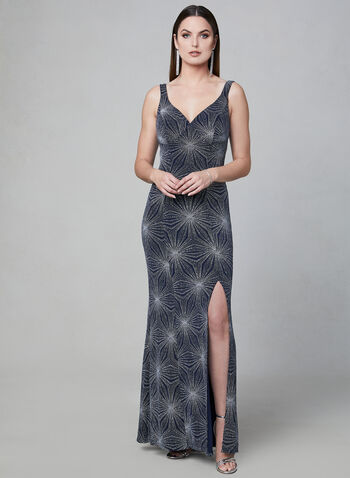 Cachet - Shimmer Jersey Dress, Blue, hi-res,  Sparkle, shimmer, metallic, evening gown, sleeveless, spring 2019