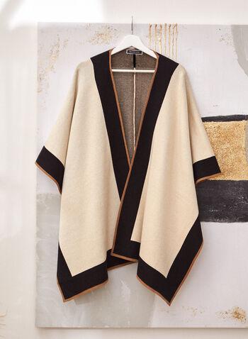 Contrast Trim Shawl, Brown,  fall winter 2021, three tone, 3 tone, scarf, scarves, ruana, shawl, wrap, contrast, poncho, open front, shawl, stole, wrap