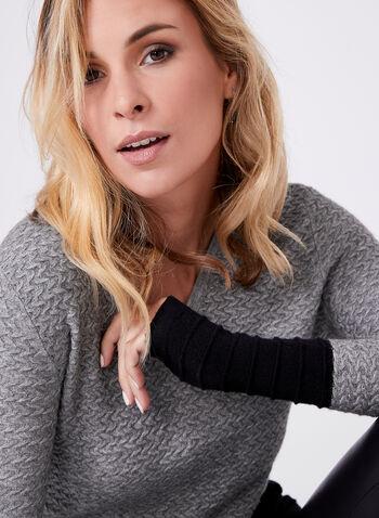 Tunique en tricot à blocs de couleurs, Gris, hi-res