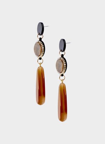 Tiered Stone Drop Earrings, Brown, hi-res