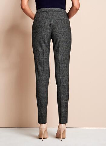 Pantalon à jambe étroite motif Prince-de-Galles, Noir, hi-res