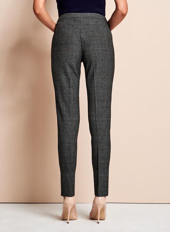 Glen Check Print Slim Leg Pants, Black, hi-res