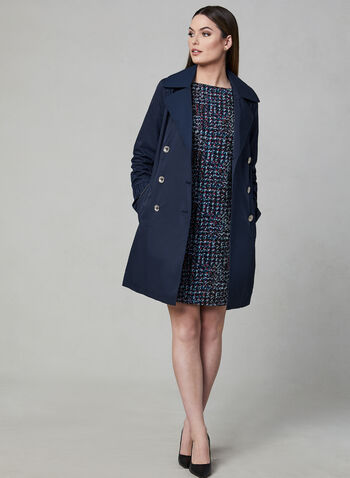 Karl Lagerfeld Paris - Hooded Trench Coat, Blue, hi-res,  long sleeves, belted, spring 2019