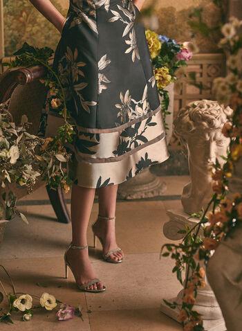 Adrianna Papell - Robe à fleurs métallisées, Noir,  printemps été 2020, robe, robe de soirée, robe midi, sans manches, ajustée, évasée, jacquard, fleurs, fleuri, floral, motif, métallique, métallisé, Adrianna Papell
