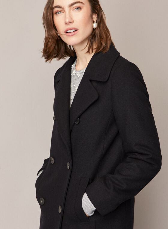 Double Breasted Wool Blend Coat, Black
