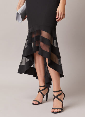 BA Nites - Illusion Detail Dress, Black,  evening dress, illusion, high low, off the shoulder, foldover, scuba crepe, spring summer 2020