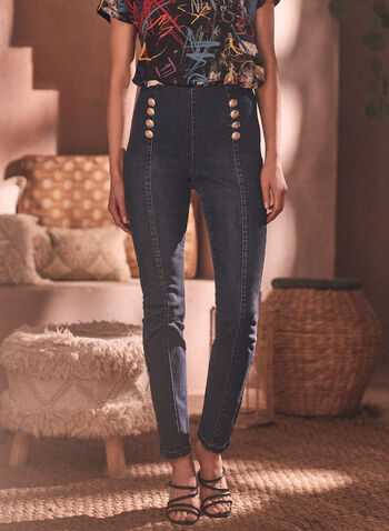 Joseph Ribkoff - Military Button Jeans, Blue,  spring summer 2021, online exclusive, Joseph Ribkoff, Frank Lyman, pull on, slim leg, pull-on, denim, jeans, military style, button detail