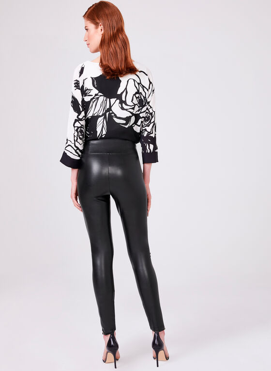 Faux Leather Pull On Pants, Black, hi-res