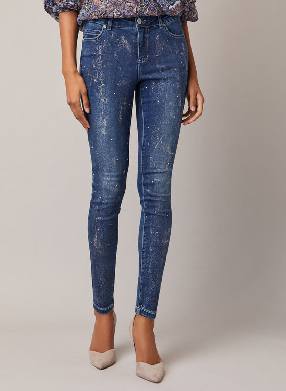 Jeans étroit brillant et détails cristaux, Bleu