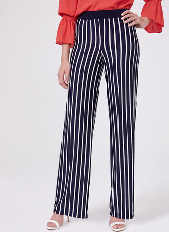 Stripe Print Pull-On Wide Leg Pants, Blue, hi-res