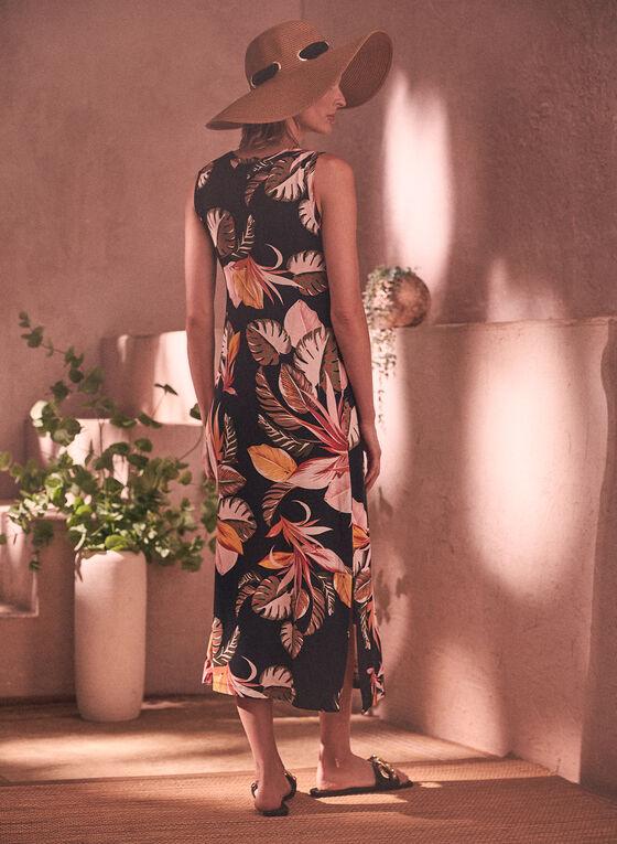 Tropical Print Midi Dress, Black
