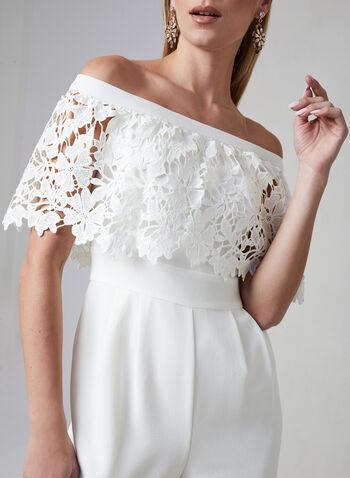 Eliza J - Combinaison en crêpe et épaules dénudées, Blanc cassé, hi-res